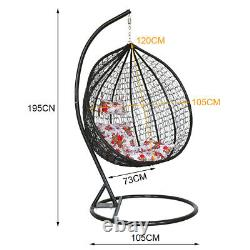 Large Garden Hanging Egg Chair Cushion Seat Rattan Weave Swing Chair Black Stand