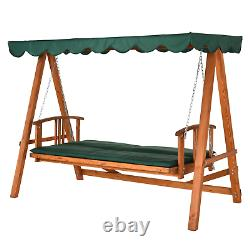 Large Garden Swing Bed Wooden 3 Seater Seat Hammock Canopy Chair Patio Outdoor