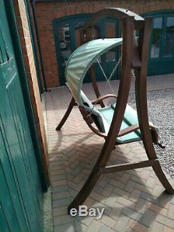 Large Rustic Wooden Garden Swing Seat Bench with Canopy Over
