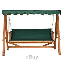 Lounger 3 Seater Swinging Garden Wooden Daybed Outdoor Patio Seat Canopy & Stand