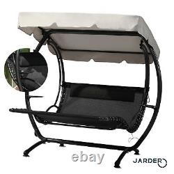 Luxury Double SUN Lounger Swing Seat Garden Patio Twin Shade Canopy Day Bed