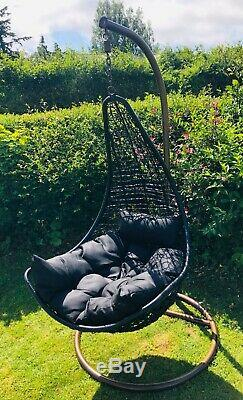 Luxury Garden/Outdoor Hanging Swing Egg Style Chair/Seat & Cushions