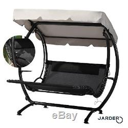 Luxury Swing Seat Lounger Garden Patio Twin Shade Canopy Day Bed