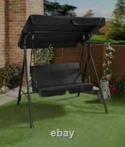 Milano 2-Seater Garden Black Swing Seat Patio Swinging Chair Hammock with Canopy