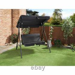 Milano 2 Seater Garden Metal Swing Seat Patio Swinging Chair Hammock Canopy UK