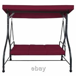 Modern Durable 3 Seats Cushioned Porch Swing Chair-Wine