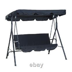 Modern Garden Swing 2-Person Outdoor Chair Padded Seat Adjustable Canopy Black