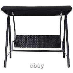 Modern Garden Swing Rattan Style Canopy Cushioned Chait Seat Outdoor Patio Black