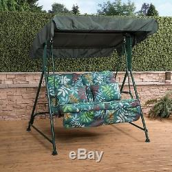 Mosca 2 Seater Garden Patio Swing Seat Green Frame with Classic Cushions