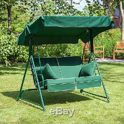 Mosca 2 Seater Garden Patio Swing Seat Green Frame with Luxury Cushions