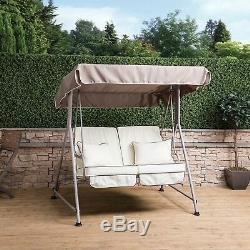 Mosca 2 Seater Garden Swing Seat Natural Frame with Luxury Cushions