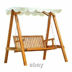 NEW Garden Outdoor 2-Seater Wood Chair Swing Bench Lounger Cream Seat