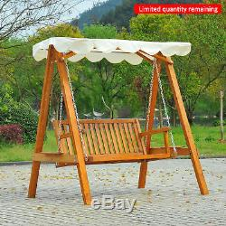 New 2 Seater Wooden Wood Garden Swing Chair Seat Hammock Bench Furniture Lounger