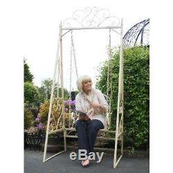 Ornate Metal Outdoor Single Seat Swing Bench Garden Lawn Feature Wrought Iron