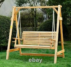 Outdoor 2 Seater Larch Wood Wooden Garden Swing Chair Seat Hammock Bench Lounger