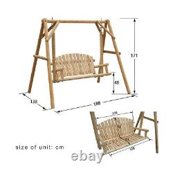 Outdoor 2 Seater Solid Wooden Garden Swing Chair Seat Hammock Bench Lounger
