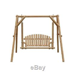 Outdoor 2 Seater Solid Wooden Garden Swing Chair Seat Hammock Bench Lounger UK
