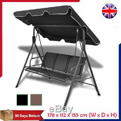 Outdoor Garden Swing Chair Bench with Canopy Powder-coated Steel Patio Seats