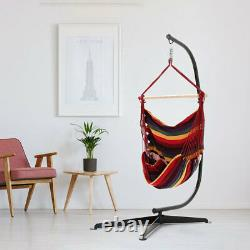 Outdoor Indoor Hanging Hammock Red Woven Rope Swing Chair Garden Seat with Stand