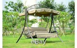 Outdoor Patio Lounger Garden Swing Hammock 3 Seater Chair Taupe Sun Seat Bench