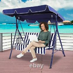Outdoor Spring Garden Hammock Swing Chair 3-Seater Patio Bench Striped Blue Seat