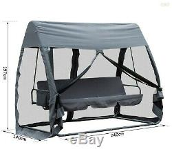 Outdoor Swing Bed Garden Relax 3 Seat Hammock With Mosquito Net Cushioned Chair UK