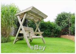 Outdoor Wooden Garden Swing Bench with Canopy 2 Seater Sofa Chair Seat Hammock
