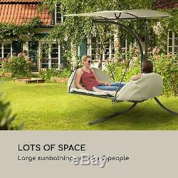 Outdoor garden lounger swing seat chair awning sun shade terrace balcony Beige
