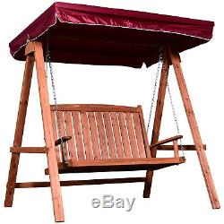 Outsunny 2 Seater Wooden Garden Swing Chair Outdoor Seat Furniture Hammock Bench
