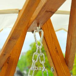 Outsunny 2 Seater Wooden Garden Swing Chair Seat Hammock Bench Furniture Lounger