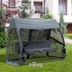 Outsunny 3 Seat Garden Swing Chair All Weather 2 in 1 Outdoor Rocking Bench