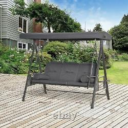 Outsunny 3 Seat Garden Swing Chair Patio Steel Swing Bench with Cup Trays Grey