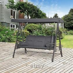 Outsunny 3 Seat Garden Swing Chair Steel Swing Bench with Cushions Cup Trays