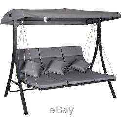 Outsunny 3 Seater Garden Swing Chair Chaise Lounge Padded Seat Sun Lounger-Grey