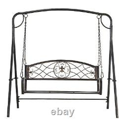 Outsunny Garden 2-Seat Free Standing Metal Porch Swing Chair Bench with Stand Set