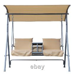 Outsunny Garden Double Swing Chair Lounger Outdoor Bench Seat Adjustable Canopy