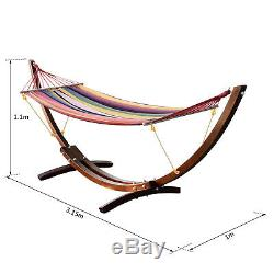 Outsunny Garden Outdoor Patio Wooden Frame Hammock Arc Stand Sun Swing Bed Seat