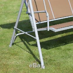 Outsunny Outdoor Mesh Swing Chair Garden Hammock Canopy Bench Lounger Seat Brown