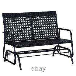 Outsunny Patio 2 Seater Wicker Glider Chair Rocking Bench Garden Swing Love Seat
