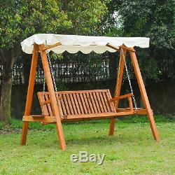 Outsunny Swing Chair 3 Seater Swinging Wooden Hammock Garden Seat Outdoor Canopy