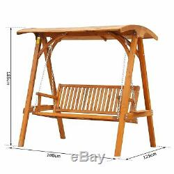 Outsunny Wooden Garden Swing Chair Seat Hammock Bench Lounger Outdoor 3 Seater