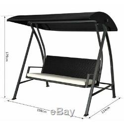 Padded Garden Swinging Bench Outdoor Summer 3 Seat Comfortable Cushion Bench