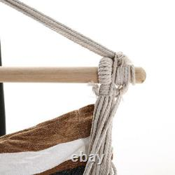 Patio White&Brown Hanging Hammock Rope Swing Chair Garden Seat with Stand Base