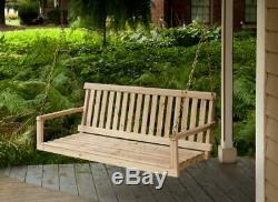 Porch Swing Bench Patio Furniture Wood Wooden Chain Seating Chair Garden Outdoor