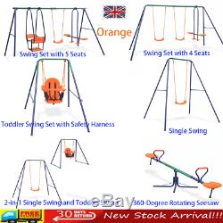 Quality Outdoor Garden Swings Set/Single Safety Swing 6 Models to Choose From UK