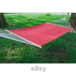 Quilted Hammock Swing Bed Chair Outdoor Porch Hanging Garden Patio Deck Seat Red