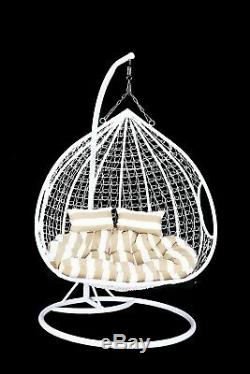 Rattan Effect Hanging White Double Swing Chair (seats2) Garden with Rain cover
