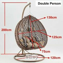 Rattan Effect Hanging white Chair Swing Double (seats2) Garden with Rain cover