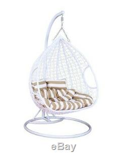 Rattan Effect Hanging white Swing Chair Double (seats2) Garden with Rain cover
