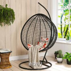 Rattan Egg Chair Hanging Swing Seat Patio Garden Hammock with Stand & Cushion UK